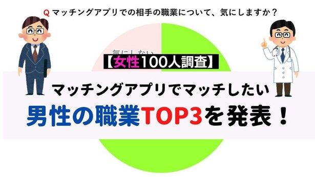 【女性100人調査】マッチングアプリでマッチしたい男性の職業TOP3を発表!